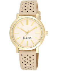 Nine West Goldtone Tan Leather Strap Watch