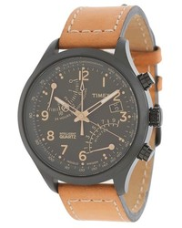 Intelligent quartz fly back chronograph leather strap watch medium 153804