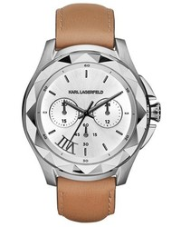 Karl Lagerfeld Karl 7 Chronograph Leather Strap Watch 44mm