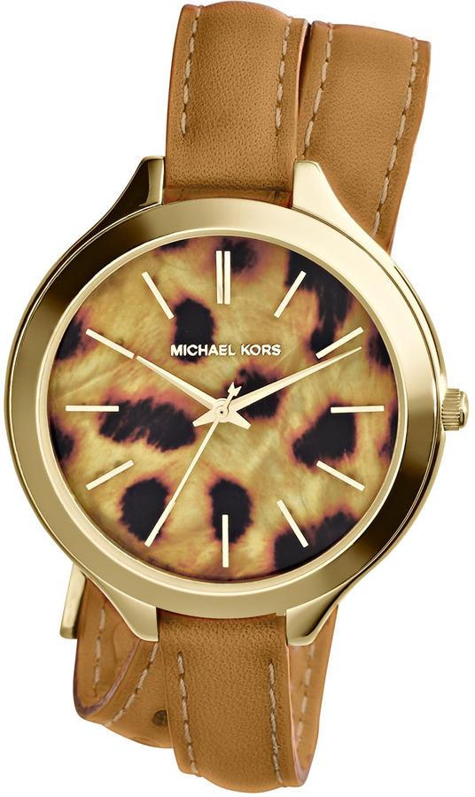 Michael Kors Michl Kors Mid Size Tan Leather Runway Three Hand Watch