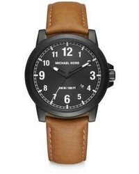 Michael Kors Michl Kors Paxton Black Stainless Steel Leather Strap Watch