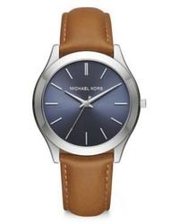 Michael Kors Michl Kors Slim Runway Silvertone Stainless Steel Leather Strap Watch