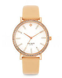 Kate Spade New York Metro Grand Pave Rose Goldtone Stainless Steel Vachetta Leather Strap Watch