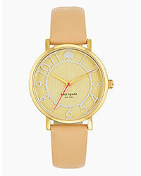 Kate Spade New York Metro Two Tone Vachetta Leather Strap Watch