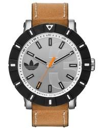 adidas Originals Amsterdam Silicone Bezel Leather Strap Watch 54mm