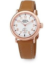 Shinola Runwell Rose Goldtone Pvd Stainless Steel Leather Strap Watch