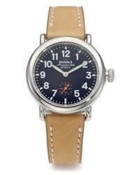 Shinola Runwell Stainless Steel Leather Strap Watch
