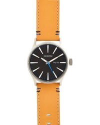 Nixon Sentry Leather Watch Black