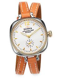 Shinola Golmesky Two Tone Stainless Steel Leather Double Wrap Watch