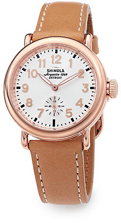1f69a95ad9c ... Rosegold Shinola Runwell Rose Goldtone Pvd Stainless Steel Leather  Strap Watch ...