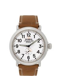 Shinola Silver And White The Runwell 47mm Watch