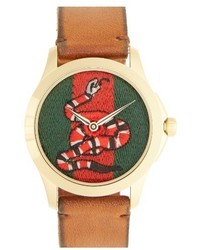 Gucci Snake Insignia Leather Strap Watch 38mm