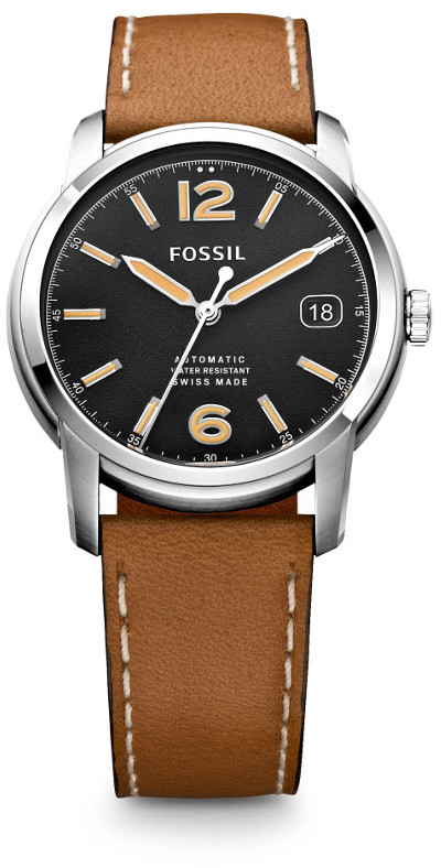 Fossil Swiss Made Automatic Leather Watch Tan, $695 | Fossil | Lookastic
