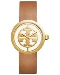 Tory Burch The Reva Three Hand Leather Strap Watch Light Browngolden