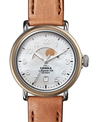 Shinola The Runwell Moon Phase Leather Watch