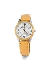 VistaBella New Light Brown Tan Leather Strap Quartz Watch