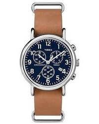 Timex Weekender Slip Thru Leather Strap Chronograph Watch Tanblue Tw2p62300jt