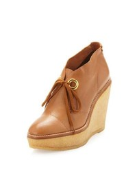 Tan Leather Wedge Ankle Boots