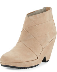 Eileen Fisher Dream Leather Wedge Bootie Earth