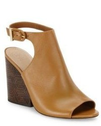 Tory Burch Grove Open Toe Leather Wedge Booties