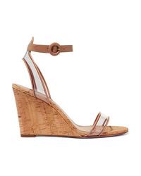 Aquazzura 85 Leather And Pvc Wedge Sandals