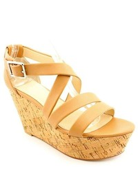 Calvin Klein Vonnie Tan Leather Wedge Sandals Shoes Newdisplay