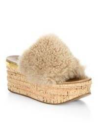 Chloé Chloe Camille Shearling Leather Wedge Sandals