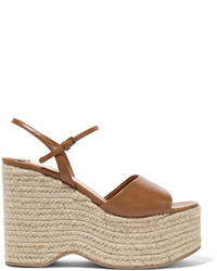 Miu Miu Leather Espadrille Wedge Sandals Tan