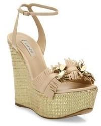 Casadei Leather Fringe Espadrille Wedge Sandals