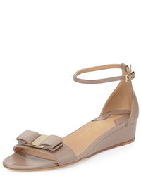 Salvatore Ferragamo Margot Bow Demi Wedge Sandal Nutmeg