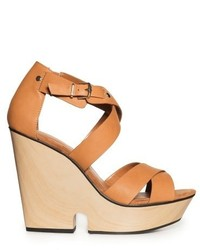 Mango Outlet Crisscross Wedge Sandals