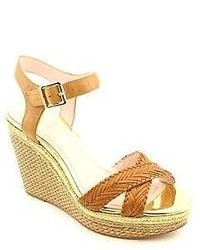 Vince Camuto Tadeta2 Size 10 Tan Open Toe Leather Wedge Sandals Shoes