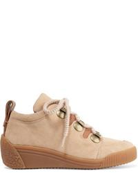 See by Chloe See By Chlo Leather Trimmed Nubuck Wedge Sneakers Beige