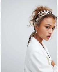 ASOS DESIGN Twist Block Headscarf In Leopard Print