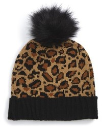 Leopard pompom beanie brown medium 6870169