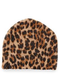Neiman Marcus Leopard Print Cashmere Beanie Hat