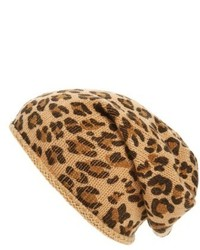 Leopard print slouchy beanie brown medium 6870168
