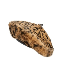 Eric Javits Jag Leopard Print Genuine Rabbit Fur Beret