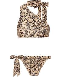 Zimmermann Eyes On Summer One Shoulder Leopard Print Bikini