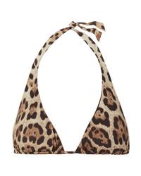 Dolce & Gabbana Leopard Print Halterneck Bikini Top