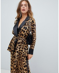 Missguided Leopard And Stripe Tailored Blazer