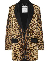 Moschino Med Leopard Print Silk Blazer