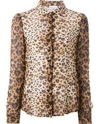 Tan Leopard Button Down Blouse