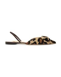 Rupert Sanderson Sabine Leopard Print Calf Hair Slingback Flats