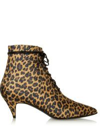 Saint Laurent Leopard Print Canvas Ankle Boots
