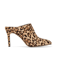 Tan Leopard Calf Hair Mules