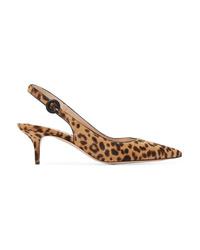 Gianvito Rossi Anna 55 Leopard Print Calf Hair Slingback Pumps
