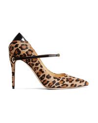 Jennifer Chamandi Lorenzo Patent Med Leopard Print Calf Hair Pumps