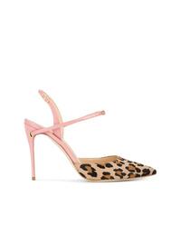 Jennifer Chamandi Pink Leopard Vittorio 105 Pony Pumps