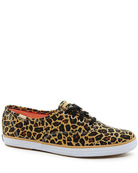 Tan Leopard Canvas Plimsolls